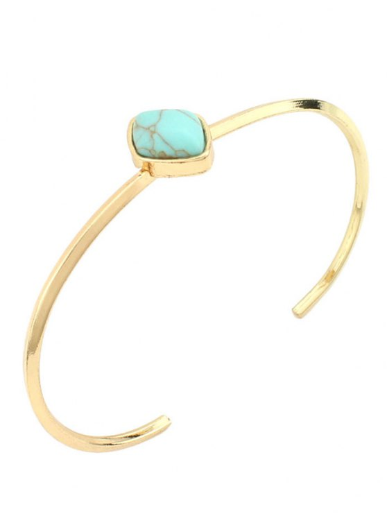 latest Bohemian Geometric Artificial Turquoise Cuff Bracelet - GREEN