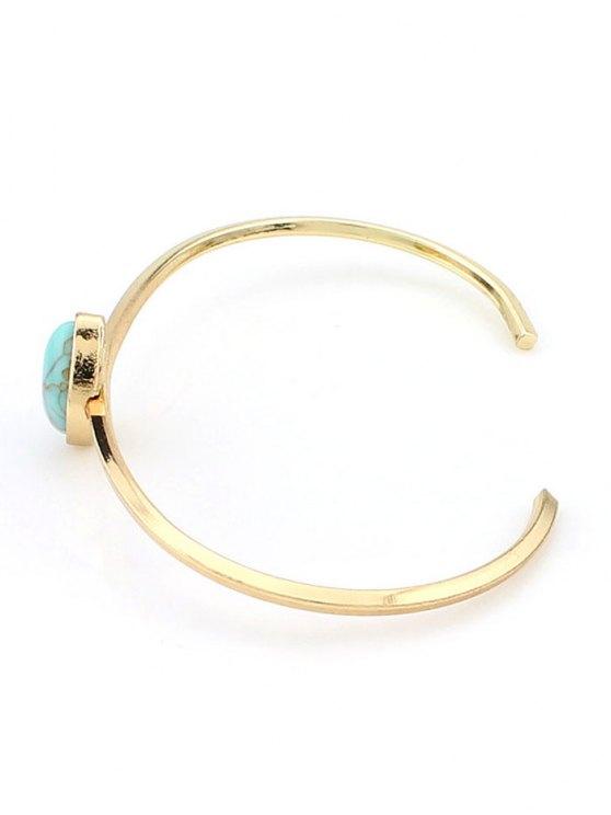 Bohemian Geometric Artificial Turquoise Cuff Bracelet - GREEN  Mobile