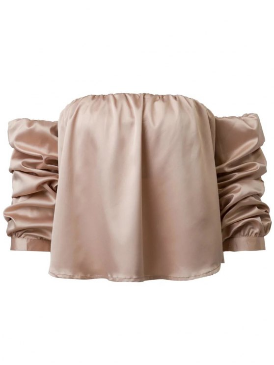 Puff Sleeve Off The Shoulder Blouse - KHAKI S Mobile