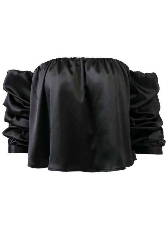 Puff Sleeve Off The Shoulder Blouse - BLACK S Mobile