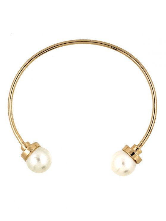 Faux Pearl Alloy Beads Cuff Bracelet - GOLDEN  Mobile