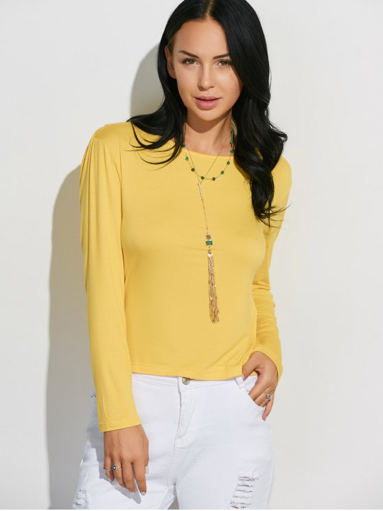 Long Sleeve Draped Back T-Shirt - YELLOW S Mobile