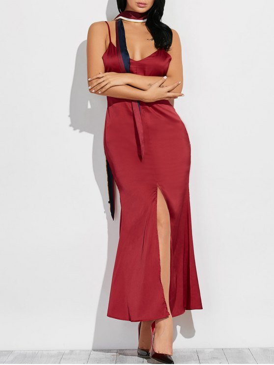 Cami High Furcal Maxi Dress - WINE RED S Mobile