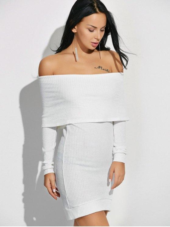 Off The Shoulder Jumper Dress - WHITE M Mobile