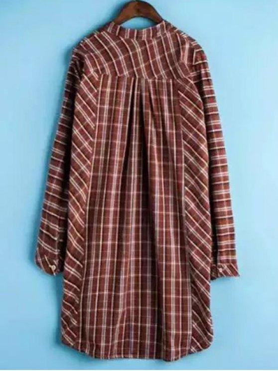 Plaid Buttoned Long Sleeve Dress - JACINTH 2XL Mobile