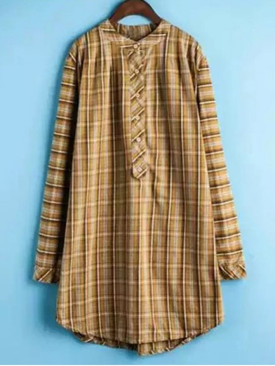 fashion Plaid Buttoned Long Sleeve Dress - YELLOW XL