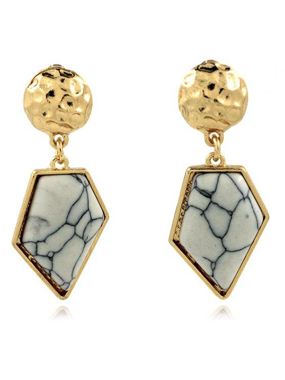 shop Faux Turquoise Irregular Geometric Earrings - WHITE