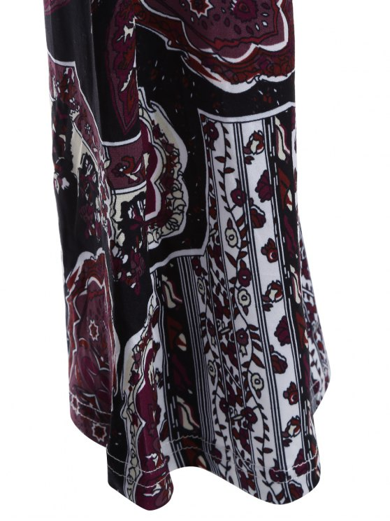 Printed Flare Trousers - BLACK AND PURPLE M Mobile