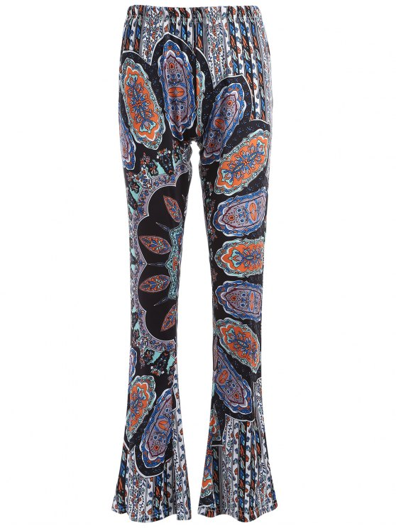 latest Printed Flare Trousers - CYAN AND GREY XL