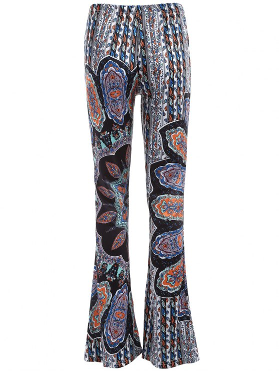 Printed Flare Trousers - CYAN AND GREY XL Mobile