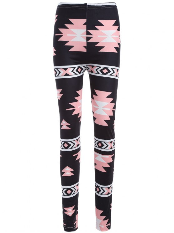 sale Geometric Print Yoga Leggings - BLACK ONE SIZE