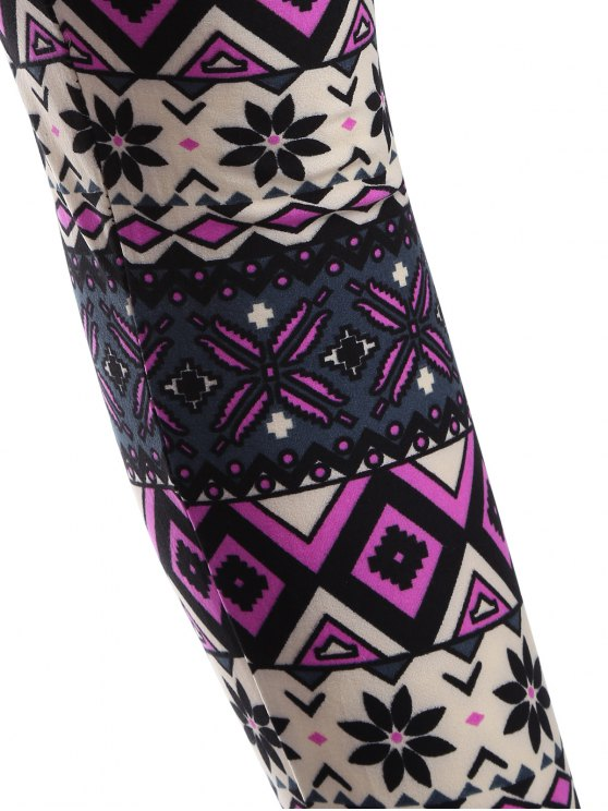 Printed Thermal Leggings - PURPLE ONE SIZE Mobile
