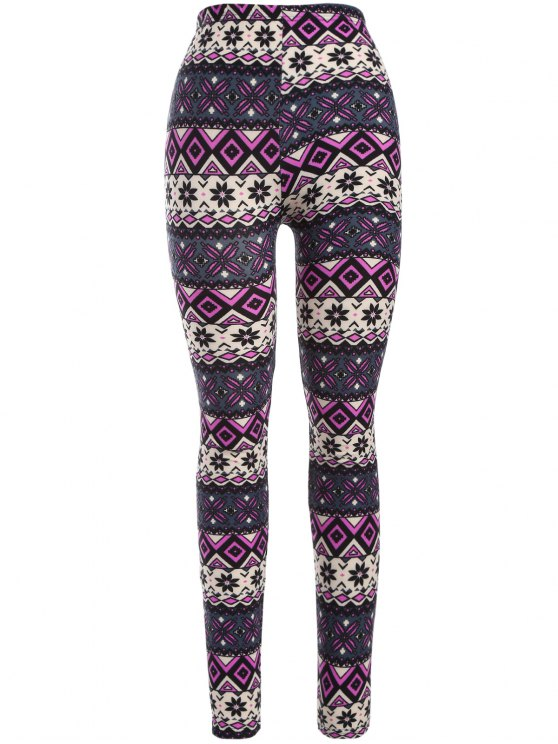 buy Printed Thermal Leggings - PURPLE ONE SIZE