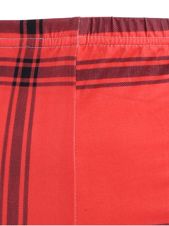 Checked Ankle Leggings - RED ONE SIZE Mobile