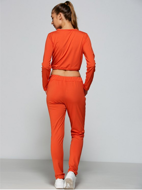 Ripped Cropped Sweatshirt and High Waisted Ripped Pants - ORANGE RED M Mobile