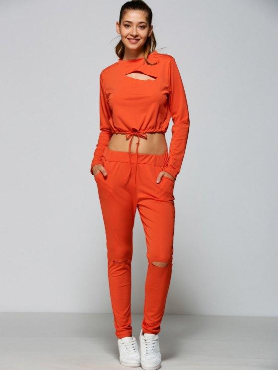Sudadera Recortada y Pantalones Talle Alto Rasgado - rojo, naranja, M