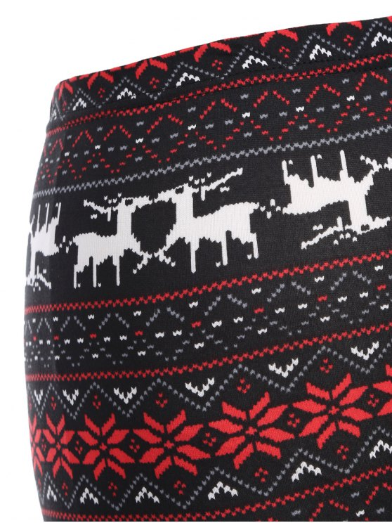 Christmas Deer Print Leggings - RED WITH BLACK ONE SIZE Mobile