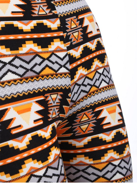 Printed Christmas Nordic Leggings - ORANGE ONE SIZE Mobile