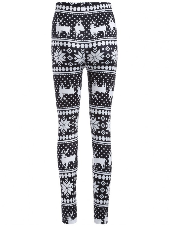 Christmas Deer Snowflake Print Leggings - WHITE AND BLACK ONE SIZE Mobile