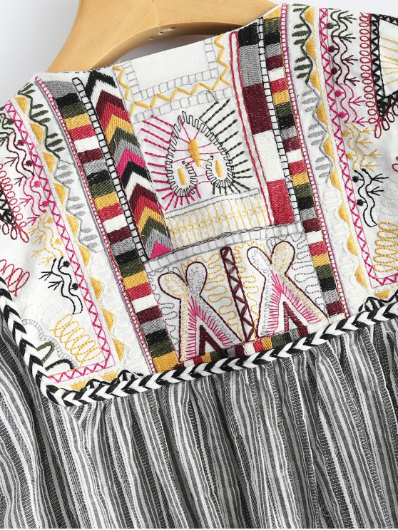 Striped Embroidered Jacket - STRIPE M Mobile