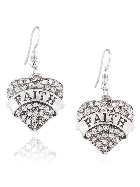 Engraved Faith Rhinestone Heart Drop Earrings - Blanco
