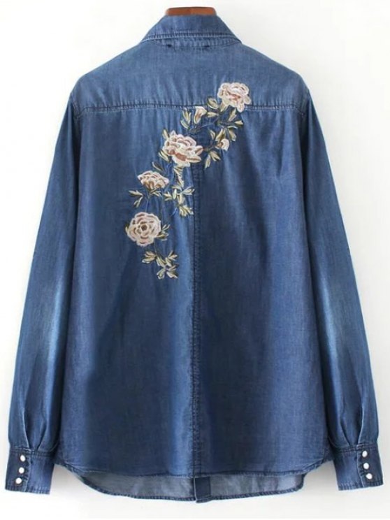Floral Emboidered Denim Shirt - BLUE M Mobile