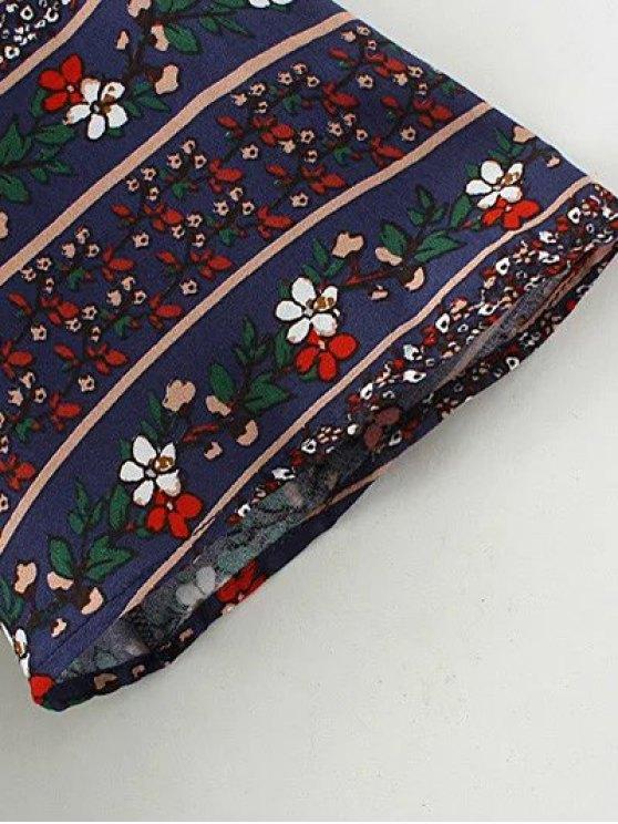 Floral Print Tie Neck Top - PURPLISH BLUE M Mobile