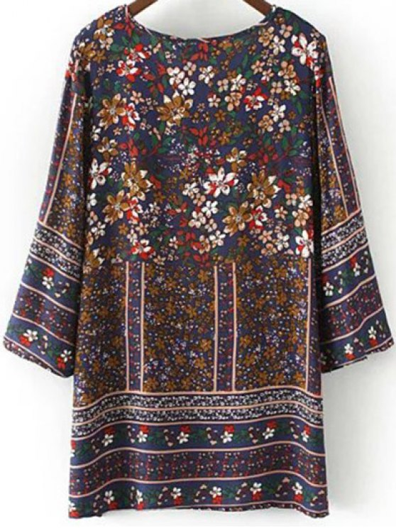 Floral Print Tie Neck Top - PURPLISH BLUE M Mobile
