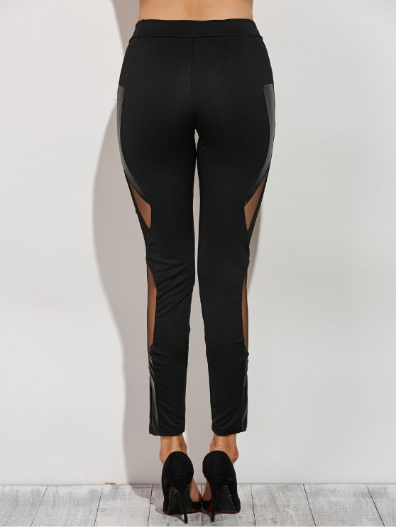 Mesh Spliced Narrow Feet Pants - BLACK XS Mobile