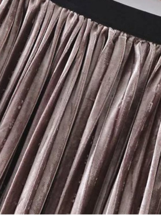 Pleated Velvet Skirt - GOLD BROWN ONE SIZE Mobile