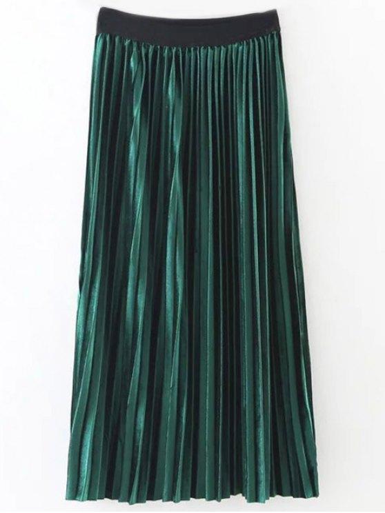 fancy Pleated Velvet Skirt - GREEN ONE SIZE