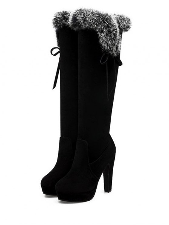Zipper Platform Faux Fur Knee-High Boots -   Mobile