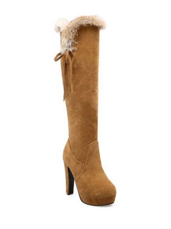Zipper Platform Faux Fur Knee-High Boots - LIGHT BROWN 39 Mobile