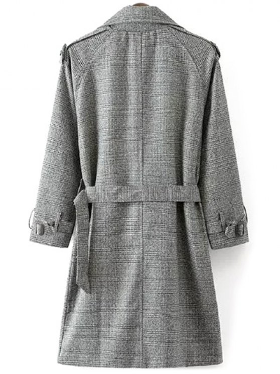 Double Breasted Houndstooth Coat - WHITE AND BLACK M Mobile