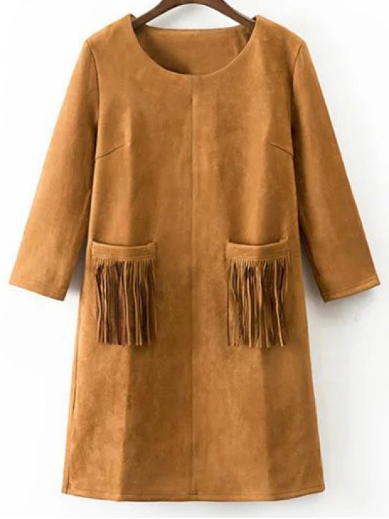 latest Fringed Pockets Faux Suede Dress - EARTHY S