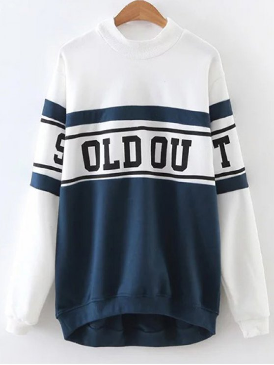 Mock Neck Oversized Sweatshirt - BLUE AND WHITE M Mobile