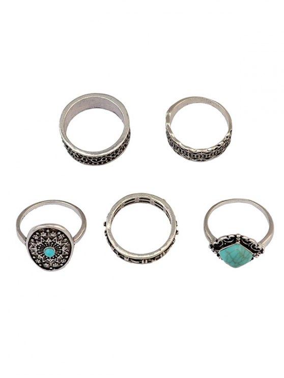 Medallion Carved Ring Set - SILVER  Mobile