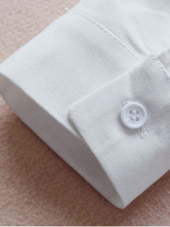 Buttoned Embroidered Blouse Collared Shirt - WHITE M Mobile