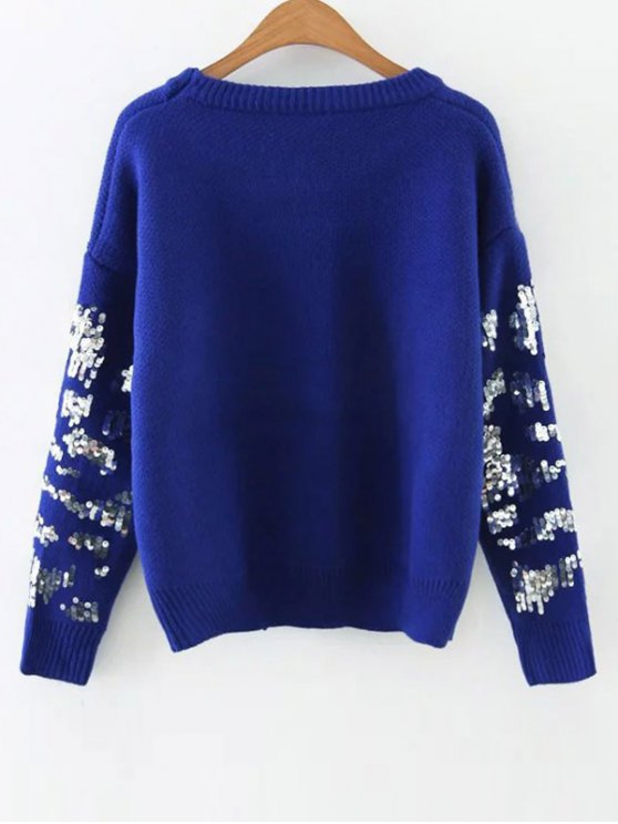 Eye Pattern Sequins Sweater - BLUE ONE SIZE Mobile