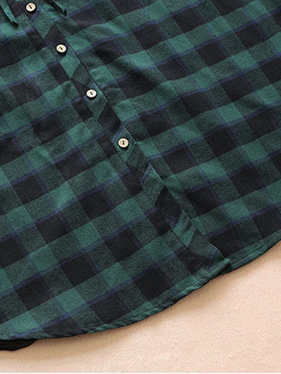 Drawstring Design Plaid Shirt Dress - BLACK AND GREEN ONE SIZE Mobile