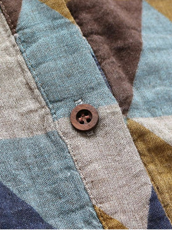 Geometric Print Long Sleeves Shirt Dress - COLORMIX ONE SIZE Mobile