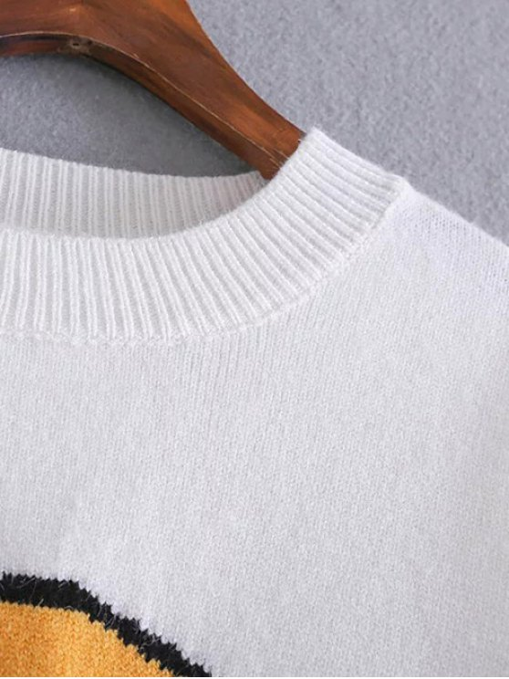 Fruit Jacquard Side Slit Sweater - JACINTH ONE SIZE Mobile