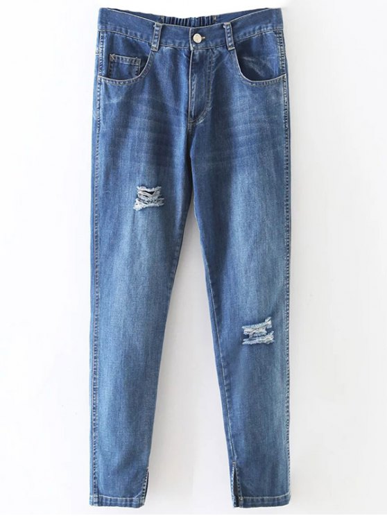 shop Distressed Pockets Jeans - LIGHT BLUE XL