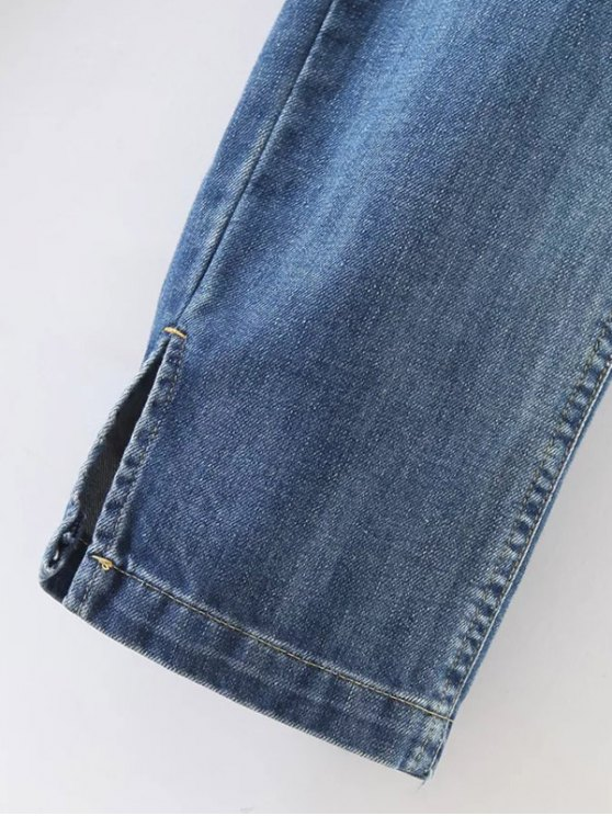 Distressed Pockets Jeans - LIGHT BLUE XL Mobile