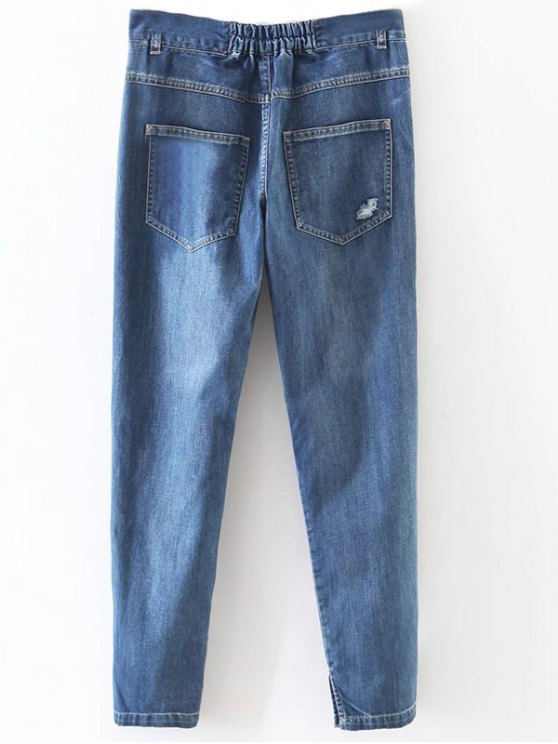 Distressed Pockets Jeans - LIGHT BLUE S Mobile