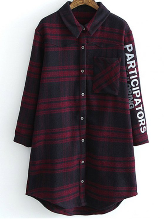 Letter Pattern Tartan Shirt - PLAID S Mobile