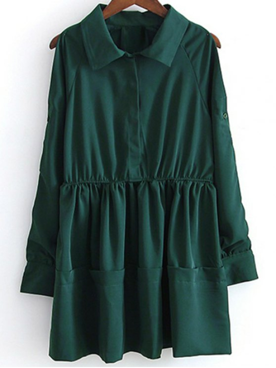 Shirt Collar Cut Out Long Sleeve Dress - GREEN S Mobile