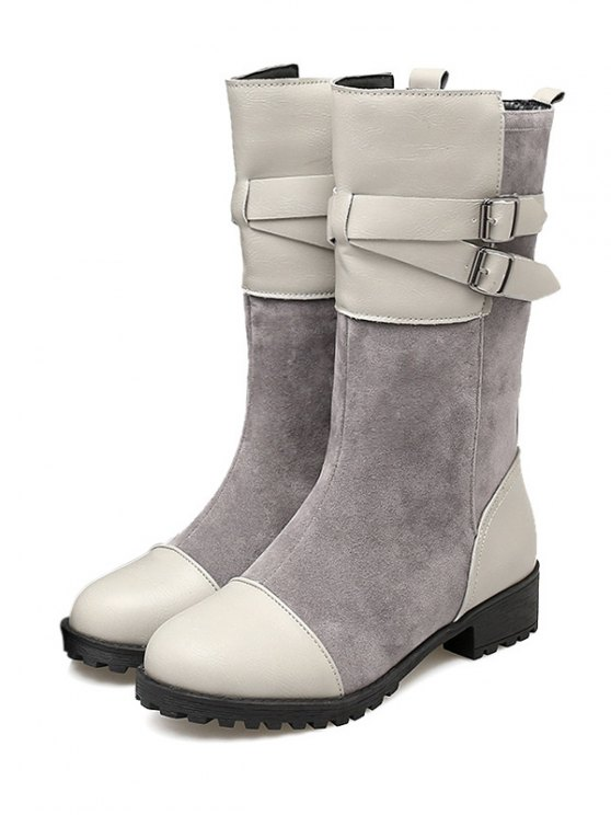 Cross Straps Double Buckle Mid-Calf Boots - LIGHT GRAY 39 Mobile