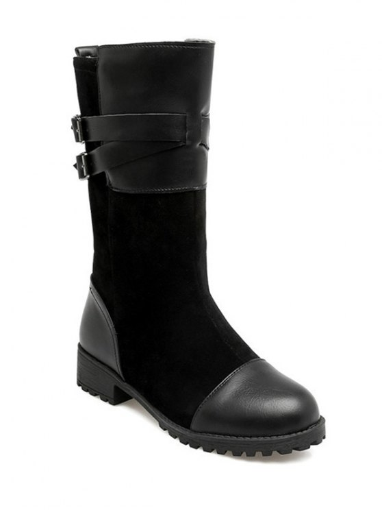 Cross Straps Double Buckle Mid-Calf Boots - BLACK 38 Mobile