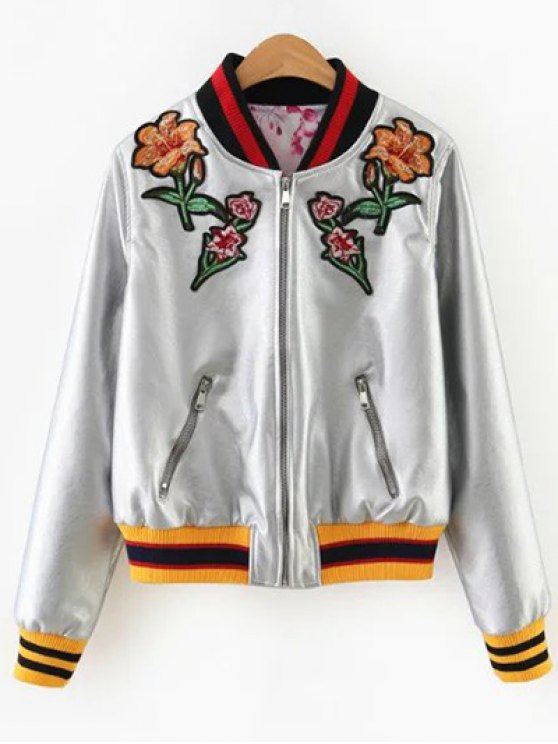 women's Embroidered Metal Colour PU Leather Jacket - SILVER M